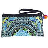 Sabai Jai - Smartphone Wristlet Bag - Handmade Embroidered Boho Clutch Wallets Purses (Deep Blue)