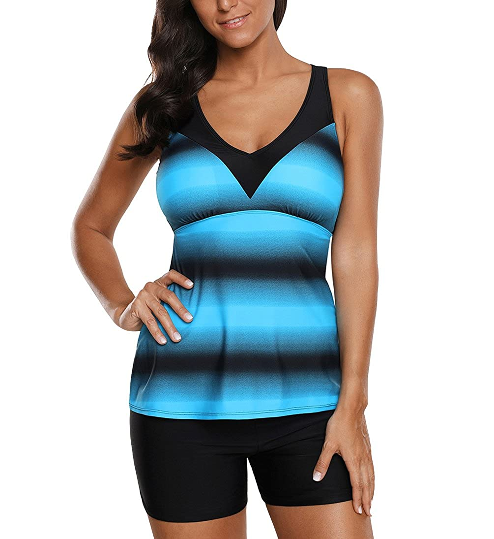 Eternatastic Womens Criss Cross Tankini Top with Boyshorts Two Piece Swimsuits for Women Ombre Color Blue Col-Block-41a0662