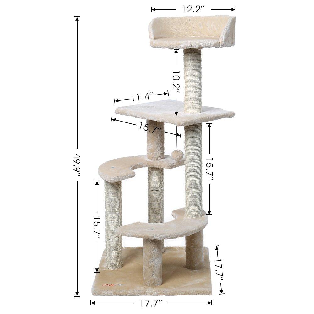 ohana pawz road xxl stabiler kratzbaum mit 4 spielpl tze mittelhoch 100cm f r k tzchen. Black Bedroom Furniture Sets. Home Design Ideas