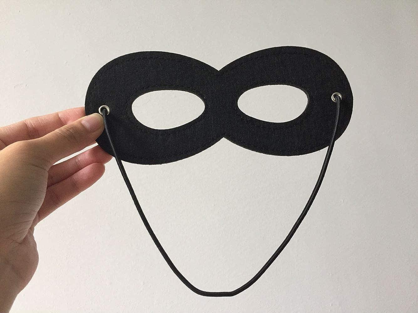 LOVINSHOW 6pcs Black Superhero Masks Halloween Cosplay Masks Half Masks Felt Eye Masks with Elastic Rope for Kids Party