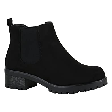 e86ab8c7fe77d4 Stiefelparadies Damen Chelsea Boots Blockabsatz Plateau Stiefeletten Leder- Optik Schuhe 149631 Schwarz Velours 36 Flandell