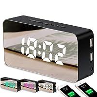 "Ausein Reloj Despertador Digital LED Grande de 9"" con Puerto USB para Cargador de teléfono, atenuador 0-100%, atenuador táctil, Toma de Corriente (Negro)"