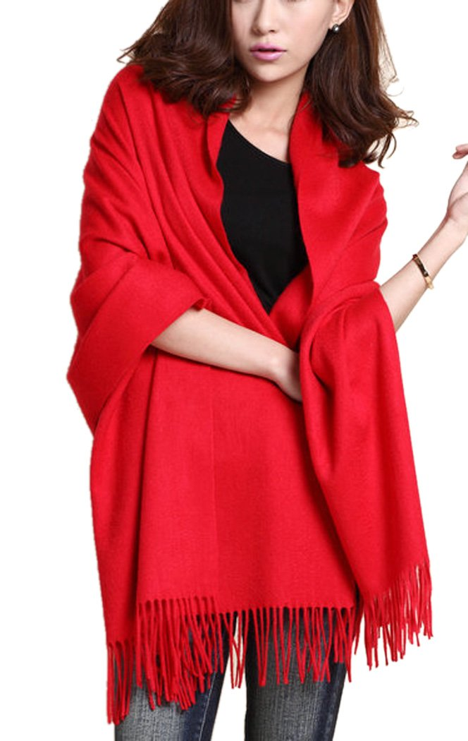 NOVAWO Large 78x27 Soft Cashmere and Wool Shawl Wrap for Women (Black)