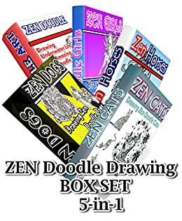 Zen Doodle Drawing BOX SET 5-in-1: Zen Cats, Zen Dogs, Zen Horses, Zen Underwater Life,Zen Girls