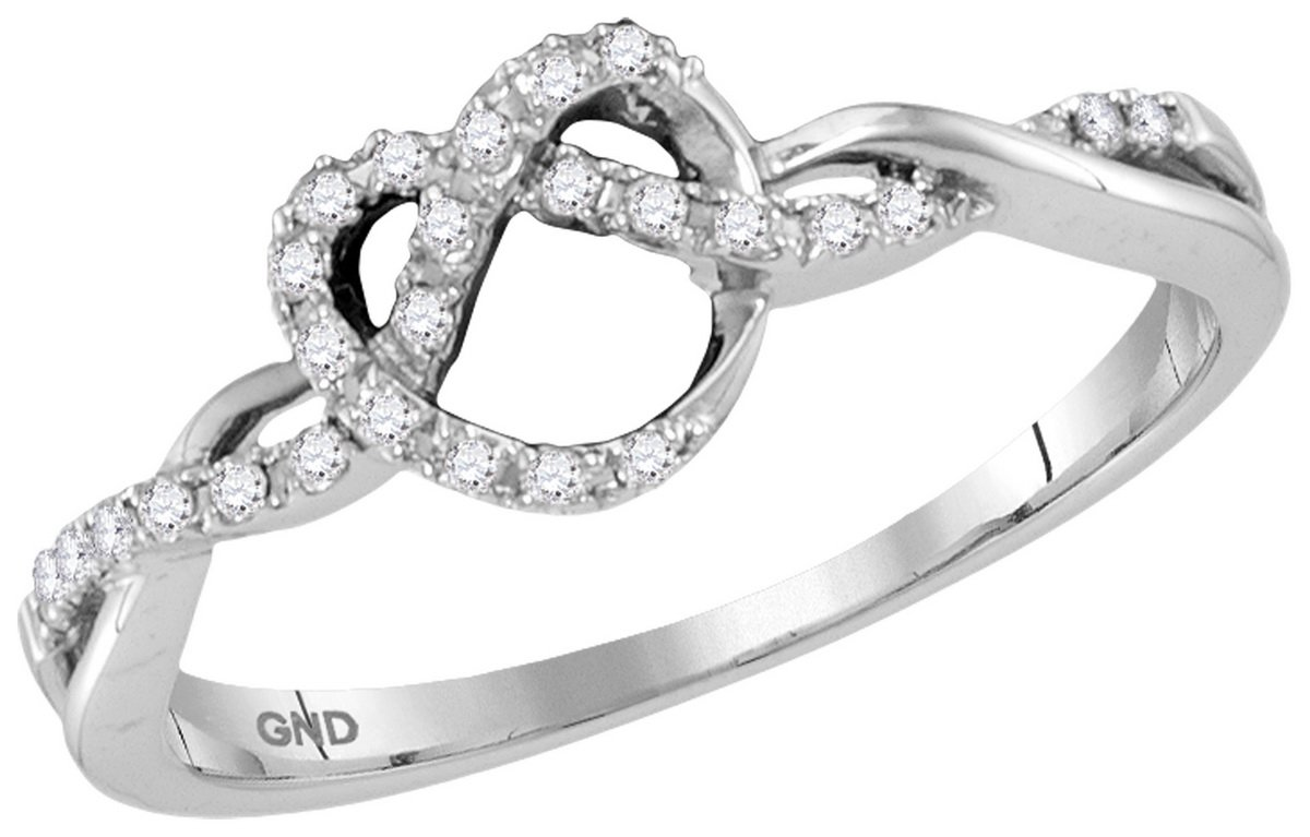 Womens 10K White Gold Infinity Knot Heart Love Real Diamond Fashion Ring 1/8 CT (I1-I2 clarity; G-H color)