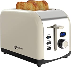 Toaster 2 Slice, Keenstone Stainless Steel Retro Toaster with Timer, Wide Slot, Defrost/Cancel Function, Removable Crumb Tray, Cream