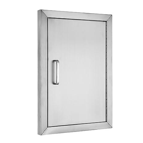 Happybuy BBQ Door Stainless Steel Flush Access Door 14\u0026quot;W X 20\u0026quot;H Single Door