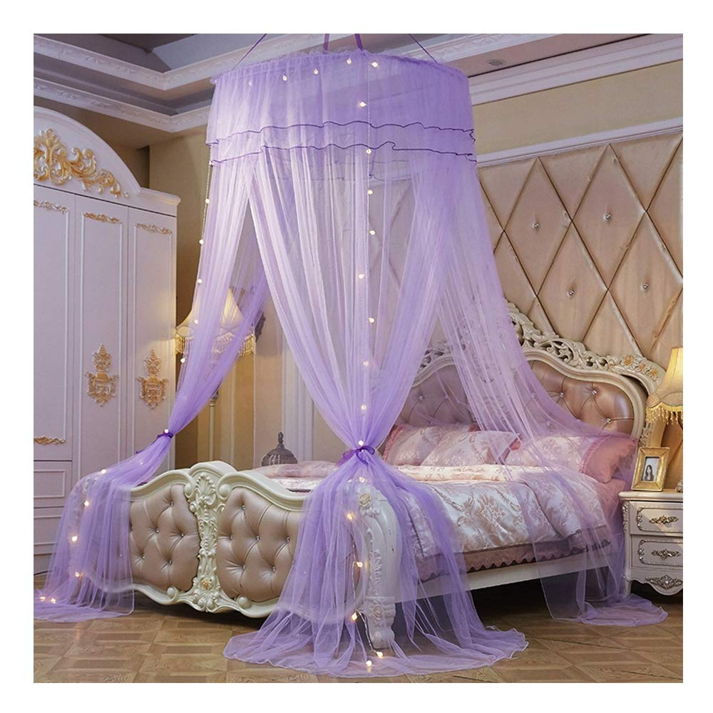 DUXY Mosquito Net, King and California King Size Beds, Lighted Conical Three Open Doors Netting, Indoor Outdoor Use, Including Hanging Kit, Small Light Bulb and Anti-Mosquito Sticker,Purple