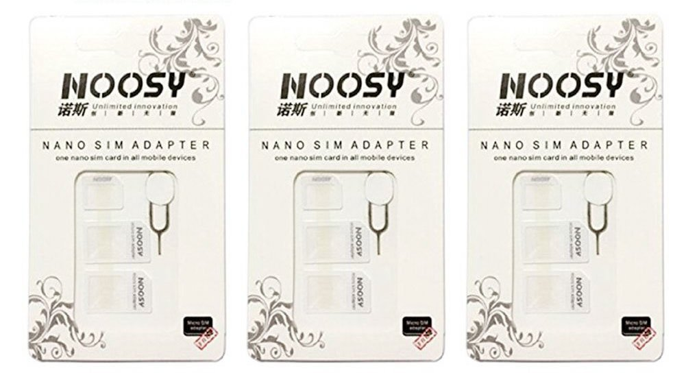 SIM Card Adapter KIT 3-Pack (9 Total Adapters: Nano to Micro, Nano to Regular, Micro to Regular) with SIM Extractor (White) Noosy 5486311