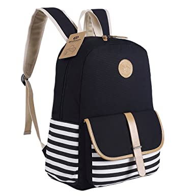 Amazon.com: BLUBOON Canvas Bookbags School Backpack Classic ...