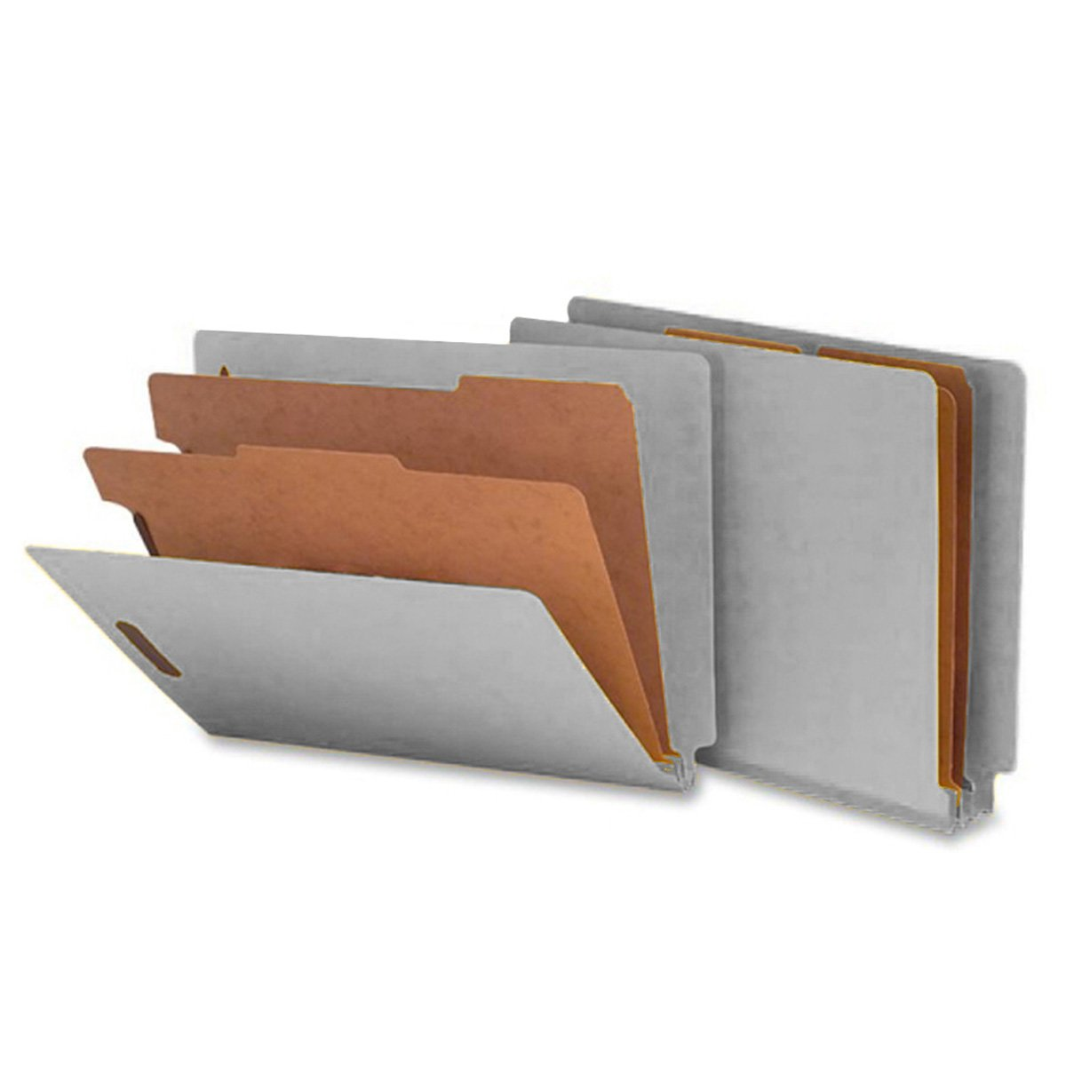 SMEAD ETC400-2D-GY End Tab Folder, FAS #1 and #3, 25Pt Pressboard, 2 Dividers, 2'' Expansion, 12 1/4 x 9 1/2, Smead Gray (Pack of 10)