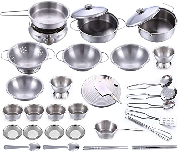 Play Kitchen 32 Pieces Stainless Steel Kitchen Toys Kids House Cooking Cookware Children Pretend Kitchen Playset Accessories Toys For Kids Toys Games Amazon Com