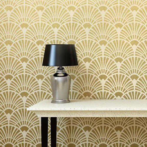 Deco Fans Allover Wall Stencil - Trendy Stencils for DIY Home Decor - By Cutting Edge Stencils ...