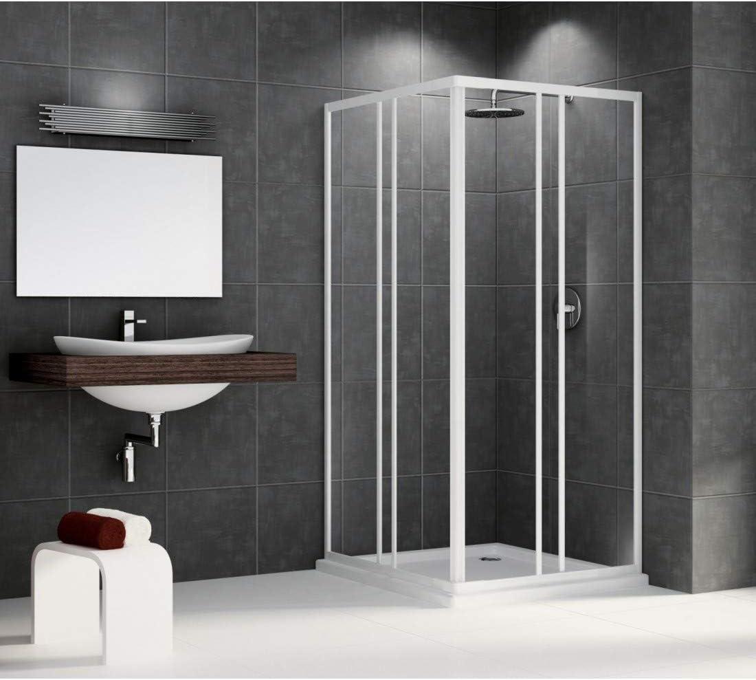 Mampara de ducha Riviera a 80, 79 cm (extensible hasta 89 cm, acceso de ángulo, composée de 4 paneles de 2 coulissants + 2 fijo: Amazon.es: Hogar