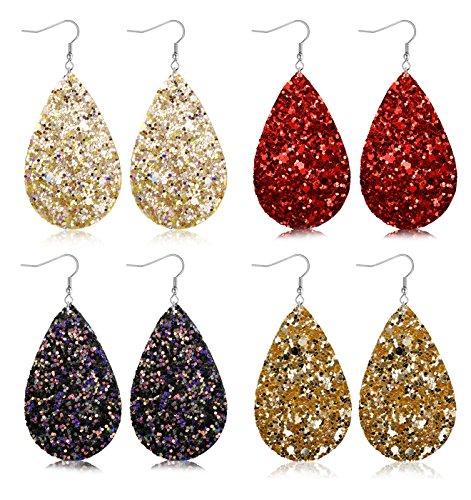 FIBO STEEL 4 Pairs Lightweight Leather Drop Earrings for Women Girls Boho Teardrop Dangle Earring Set