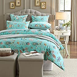 Brandream Vintage Style 3 Piece Duvet Cover Set Multicolored Flowers Bouquet 100-percent Cotton Shabby Chic Reversible Floral Bedding (Queen,Teal)