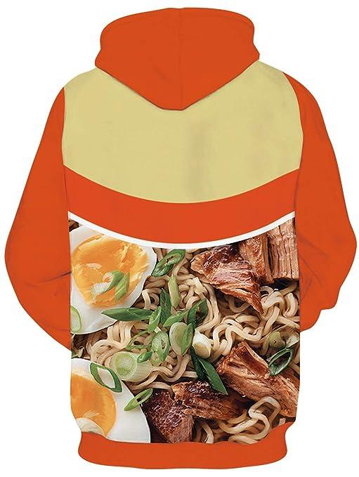 SKYRAINBOW Unisex Joggers 3D Novelty Ramen Pants Noodle Soup Gym Jogging Trouser with Pocket