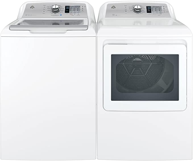 "GE Top Load Speed Wash GTW685BSLWS 27"" Washer with Front Load Smart GTD75GCSLWS 27"" Gas Dryer Laundry Pair in White best gas dryer"