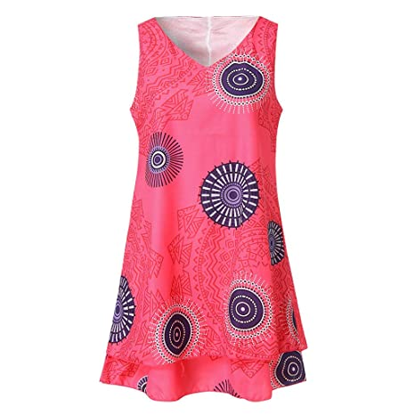 Amazon.com : Women\'s Sleeveless Dress Plus Size Print Midi ...