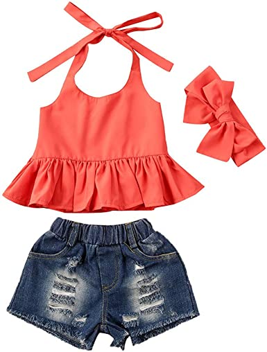 Toddler Baby Girls Ruffle Halter Crop Top Shirt+Ribbed Jean Shorts Summer Outfits Clothes Sets