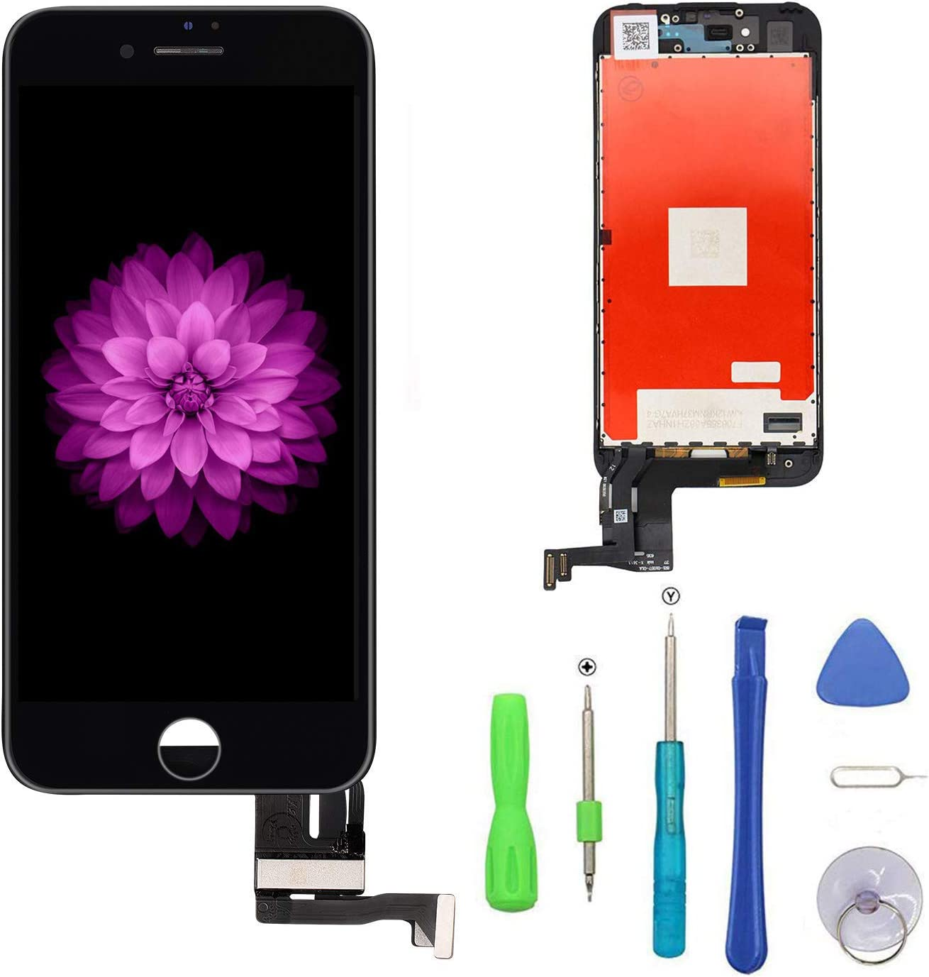 FFtopu iPhone 7 Plus Screen Replacement Black 5.5'', LCD Display and 3D Touch Screen Digitizer Replacement Full Assembly for iPhone 7 Plus Screen with Repair Tool Kit