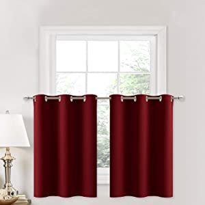 NICETOWN Blackout Small Kitchen Window Curtains - Pair of Thermal Insulated Eyelet Top Plain Blackout Tier Curtains Valances for Christmas & Thanksgiving (42W x 36L + 1.2 inches Header, Burgundy)