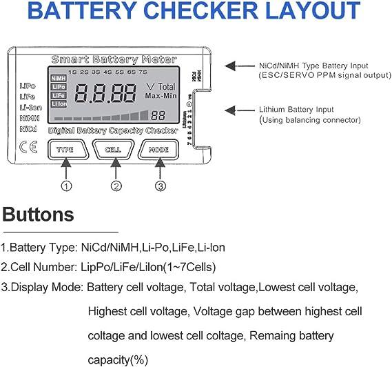 Probador de Capacidad de la batería Digital RC, medidor de batería Inteligente 5 en 1, comprobador de Capacidad del probador de Esc para 1-7S LiPo ...