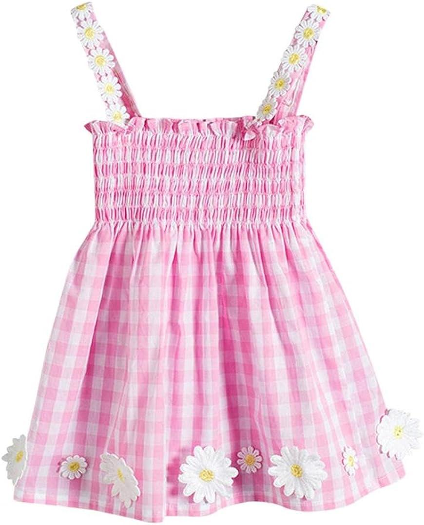 Lisin Toddler Infant Baby Girls Sleeveless Sundress Lattice Flowers Print Mini Dress