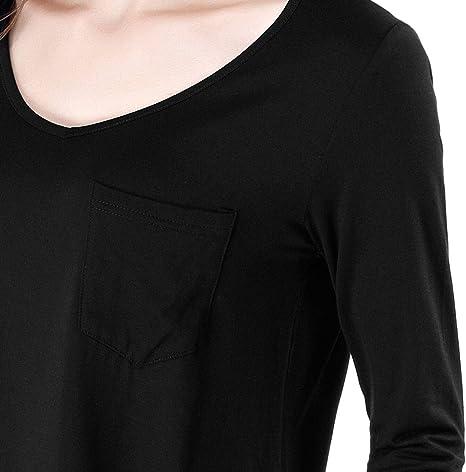 wirarpa Maglie a Manica Lunga Donna V Scollo T-Shirt Casual Morbida Microfibra Nero Grigia