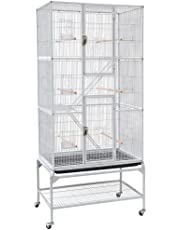 Yaheetech Grande Cage à Oiseaux - 77 x 46 x 175,5 cm Voliere exterieur pour Perroquet/Perruche/Canari/Parakeet/Calopsitte élégante/Pinson