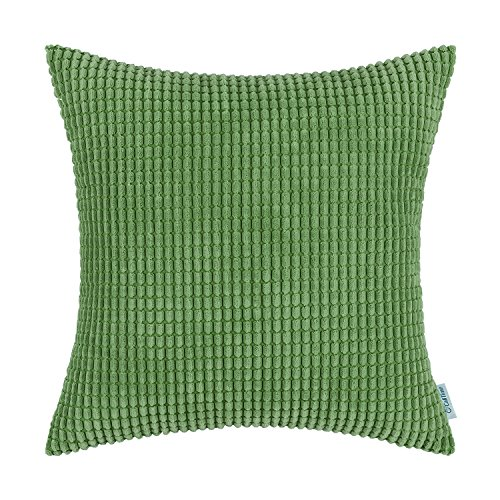 CaliTime Cozy Throw Pillow Cover Case for Couch Sofa Bed Comfortable Supersoft Corduroy Corn Striped Both Sides 26 X 26 Inches Forest Green ()