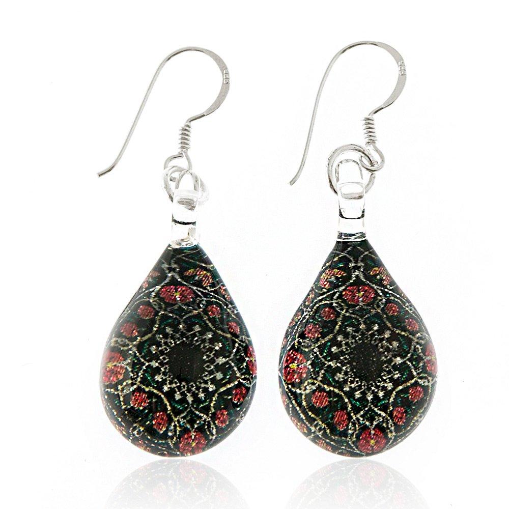 925 Sterling Silver Hand Painted Murano Glass Black Mandala Flower Teardrop Dangle Earrings by Chuvora