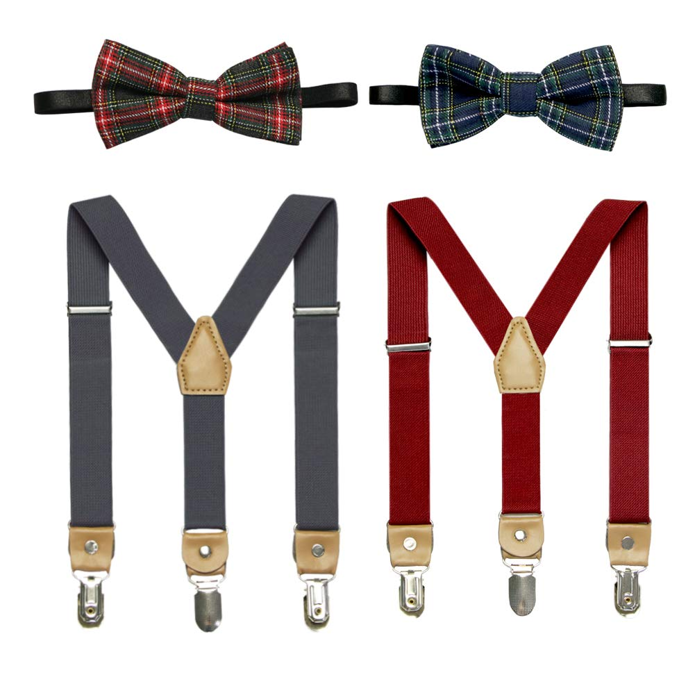 Kids Bow Tie and Suspenders Toddler Suspenders with Bow Ties Set Adjustable Elastic Y-Back Strong Clips 2 or 3 Packs BDK10002NVWED