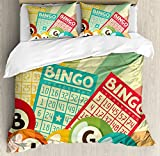 Vintage Decor Duvet Cover Set by Ambesonne, Bingo Game with Ball and Cards Pop Art Stylized Lottery Hobby Celebration Theme, 3 Piece Bedding Set with Pillow Shams, Queen / Full, Multi