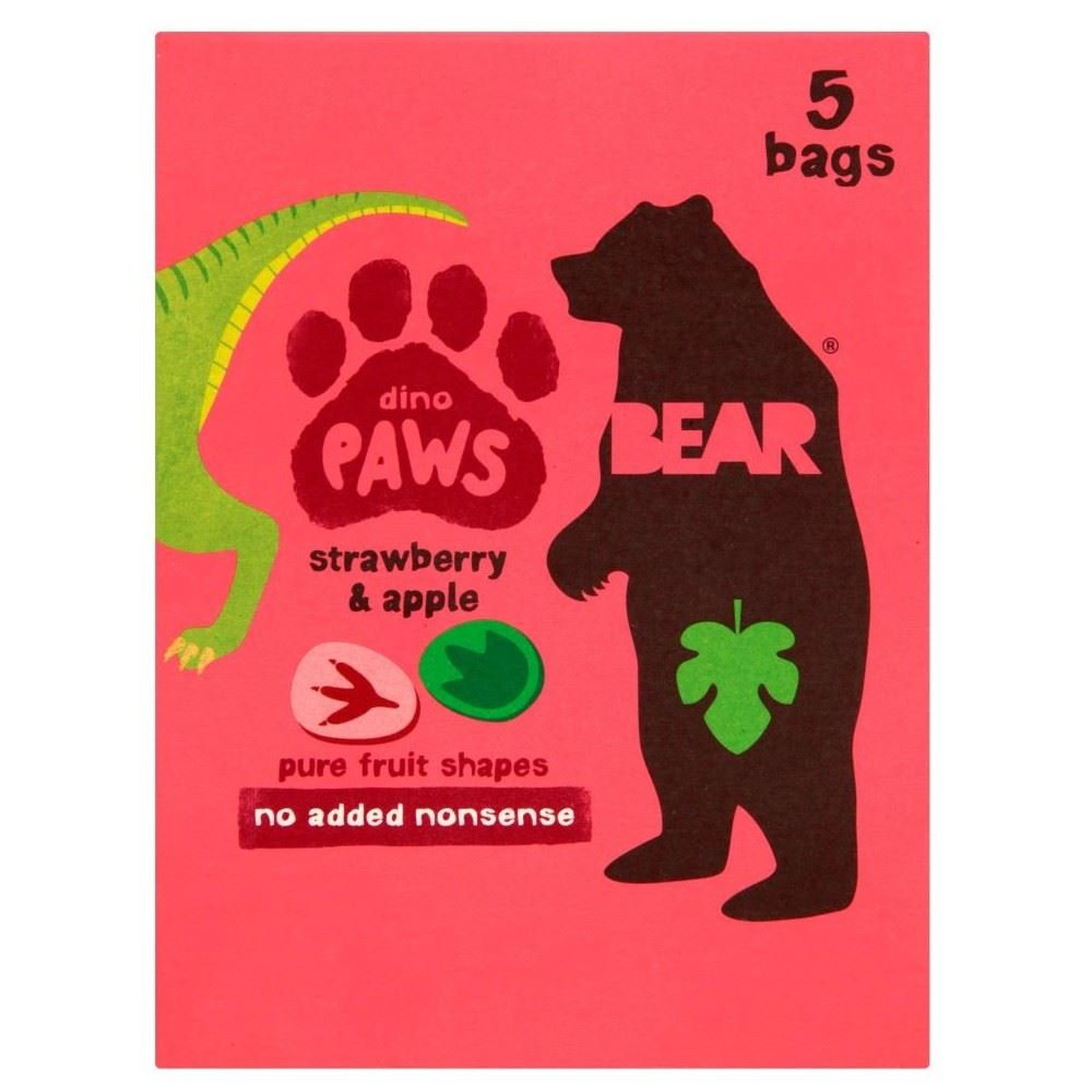 Bear Dino Paws Strawberry & Apple (5x20g) - Pack of 2 Grocery