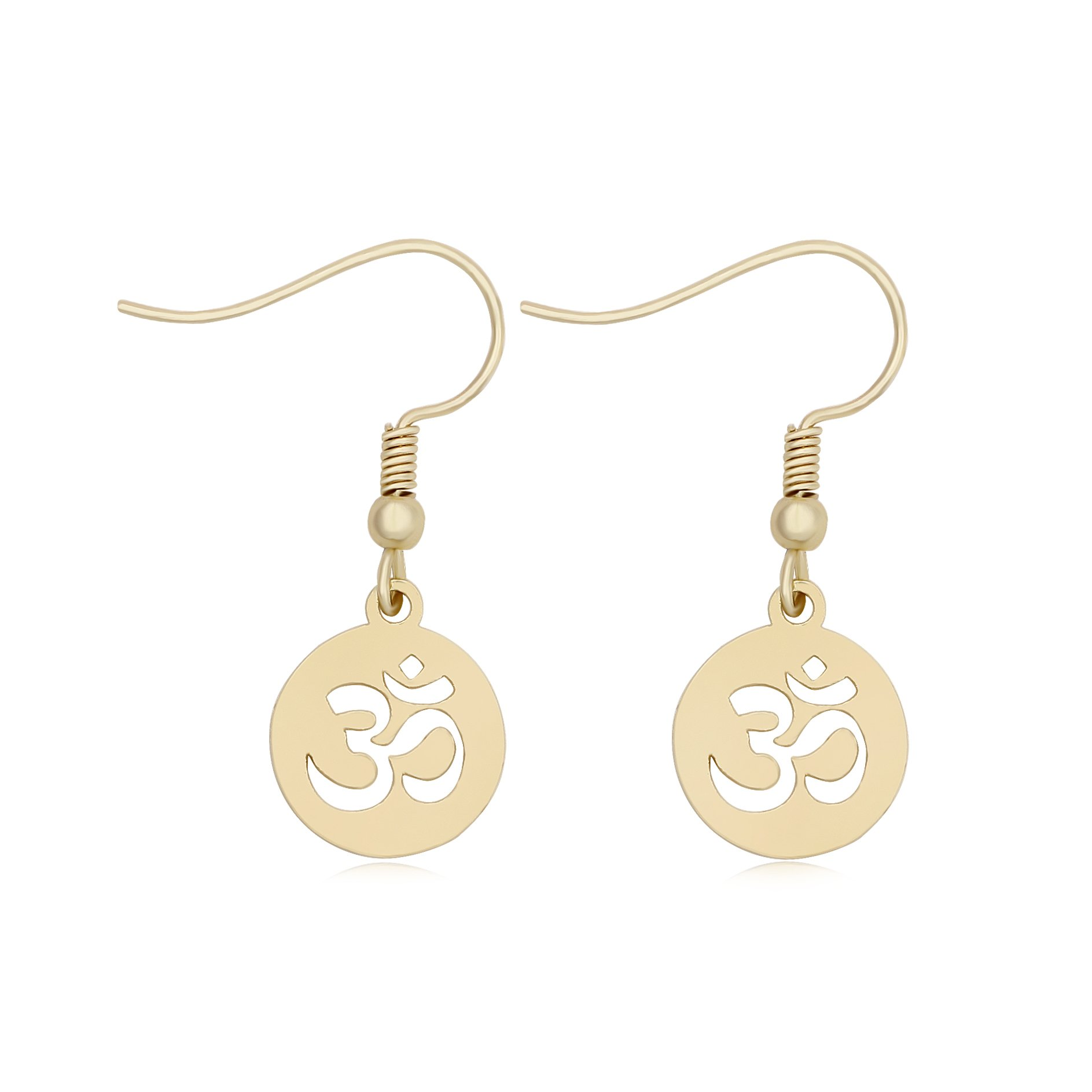 TUSHUO Simple Cute Aum Om Ohm Sanskrit Symbol Hollow Yoga Charm Pendant Earring Yoga Jewelry (Gold)