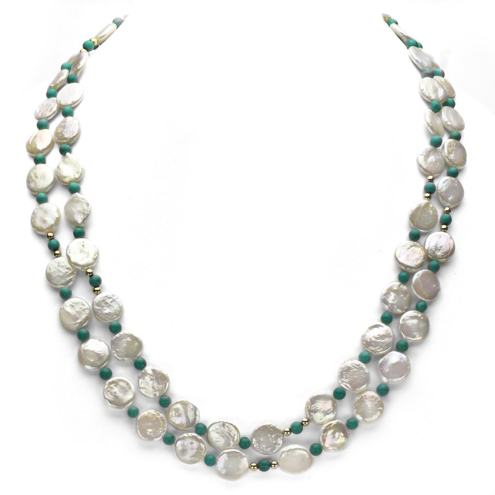 La Regis Jewelry 10-10.5mm White Coin Freshwater Cultured Pearl 4mm Round Simulated Magnesite Endless Necklace, 48