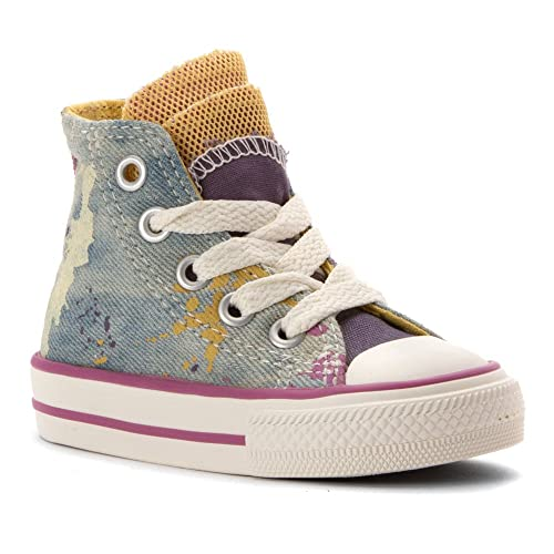 5a7c665175e Converse Girl s Chuck Taylor Party Denim Splatter Infant Toddler Moody  Purple Cactus Blossom
