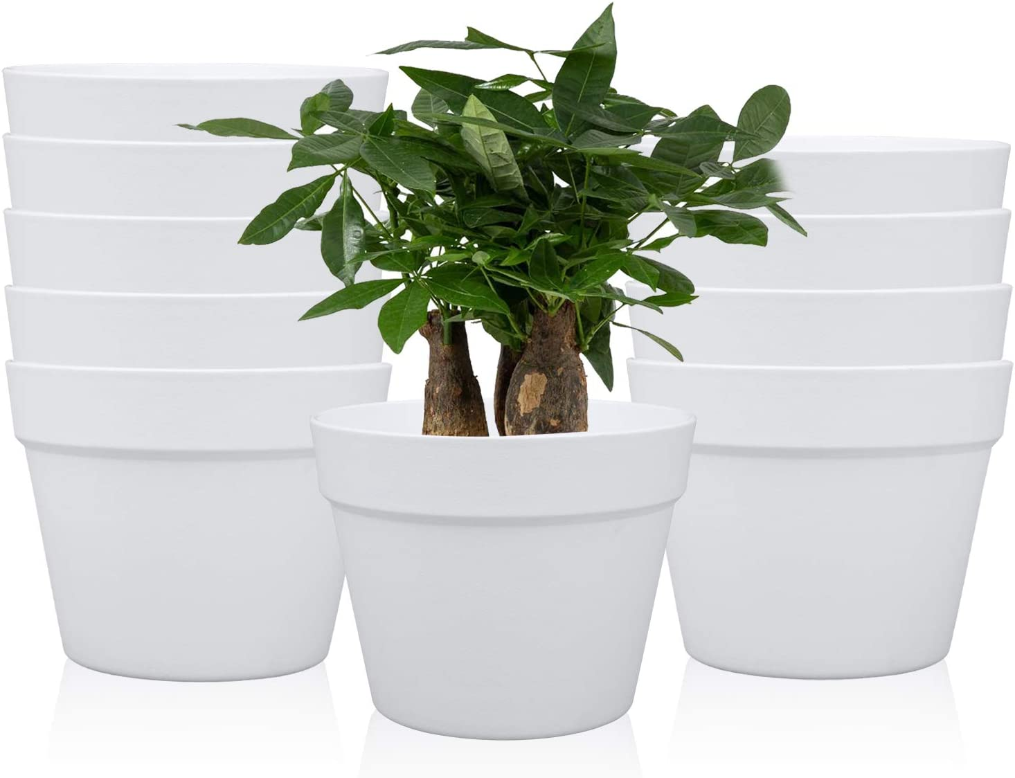 7 Inches / 10 pcs Plastic Plant Pots, Gardening Containers, Planters, Perfect for Indoor and Outdoor Decoration/Garden/Kitchen/Flower/Succulents (White)