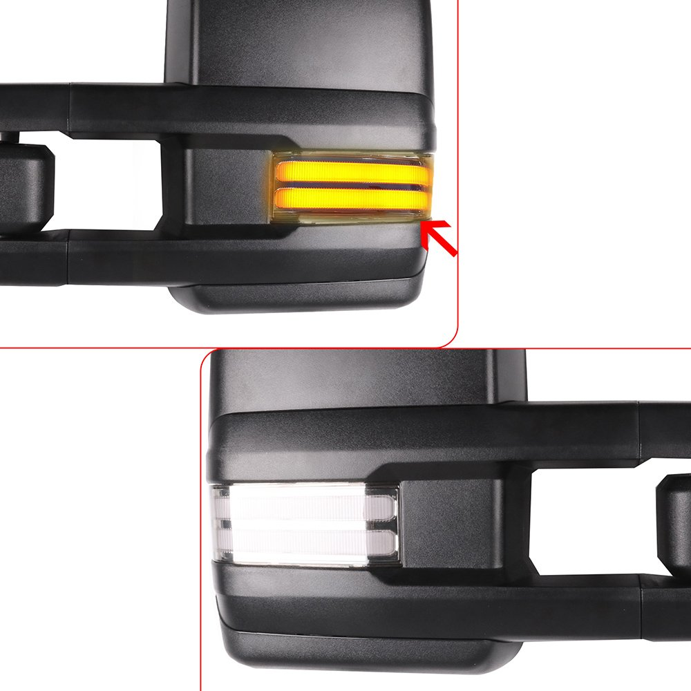 for Chevy GMC Towing Mirrors with Running Lights Black Rear View Mirrors for Silverado Sierra 2014-2018 with Dynamic Reverse Lights Arrow Turn Signal Power Control and Heated Features
