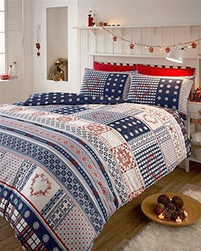 BRUSHED COTTON FLANNELETTE RED WHITE AND BLUE NORDIC HEART DUVET SETS (Double) by DE CAMA by DE CAMA