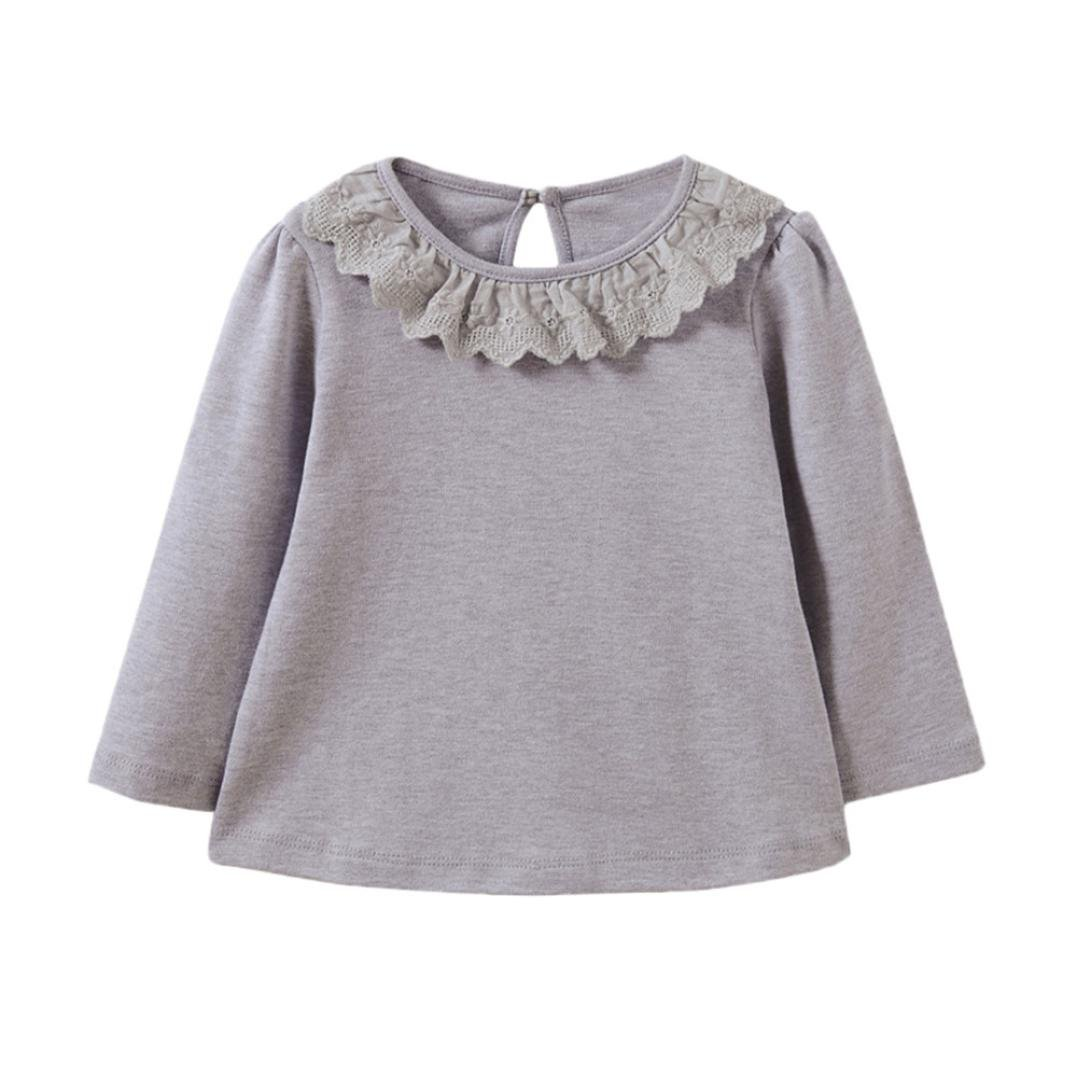 Clode for 0-3 Years Old Girls, Fashion Children Girls Lace Neck Long Sleeve Soft T-Shirt Tops Blouse Clode-TS-00387