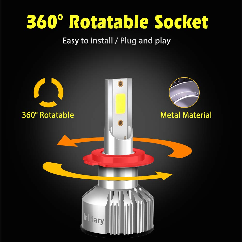 H7 LED Phare Ampoules Voiture Auto COB Lampe 72W 6500K 8000LM Super Bright