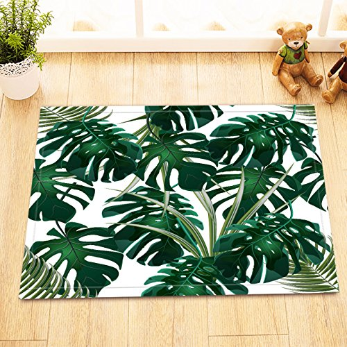 LB Dark Green Tropical Jungle Small Rugs for Bathroom Bedroom, Anti Skip Rubber Backing Comfortable Soft Surface, Hawaiian Forest Palm Leaf Bath Rug 15 x 23 Inches