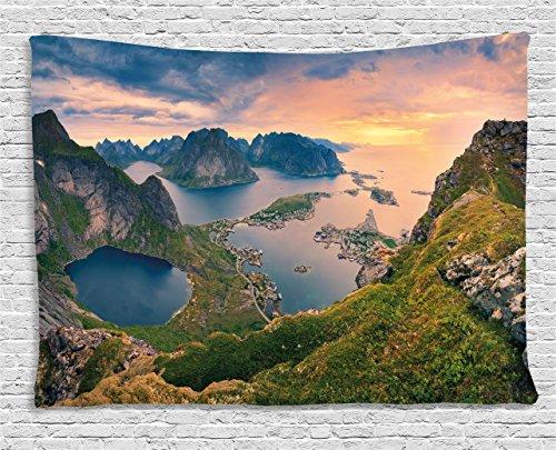 Ambesonne Landscape Tapestry by, Reinebringen at Lofoten Islands in Norway Summer Sunrise Rocky Coastline, Wall Hanging for Bedroom Living Room Dorm, 60 W X 40 L Inches, Blue Green Coral