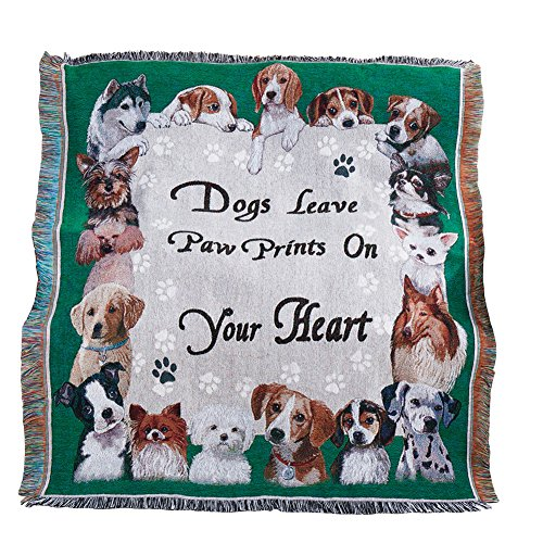 - Collections Etc Adorable Paw Prints Tapestry Throw Blanket, Gift for Dog Lover's, Green