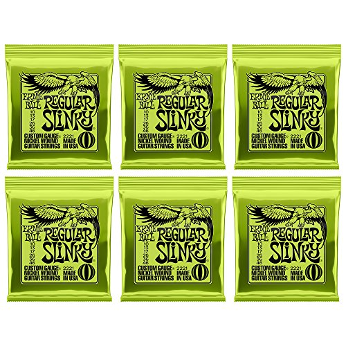 Ernie Ball Regular Slinky Nickel Wound Sets, .010 - .046, (6 pack)