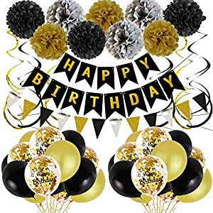 Best Epic Trends 611xuj3chXL._SS300_ Birthday Decorations for Men, Black and Gold Party Decorations Happy Birthday Decorations for Boys Bannner Latex…