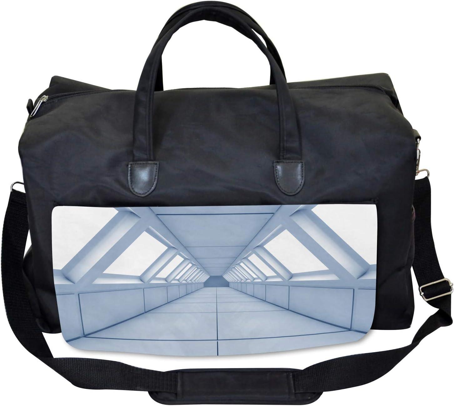 Ambesonne Modern Gym Bag Large Weekender Carry-on Corridor of Spaceship