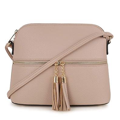 9b1e3d76846 SG SUGU Lightweight Medium Dome Crossbody Bag with Tassel | Zipper Pocket |  Adjustable Strap
